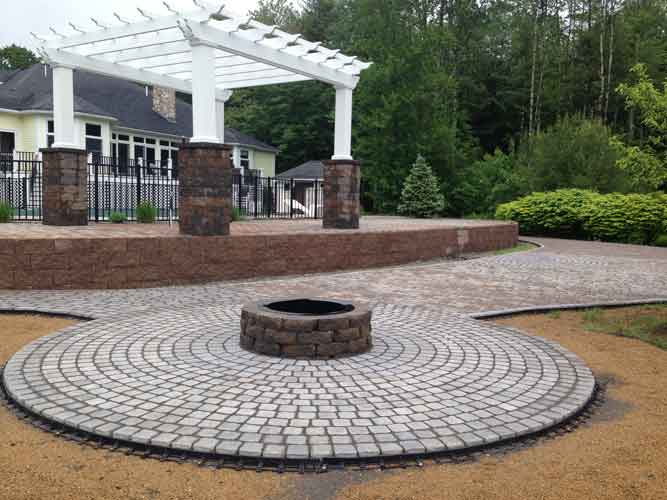Custom Split Level Patio With Fire Pit, Pergola, Water Feature And  Landscape Lights