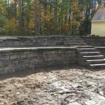 retaining wall in progress
